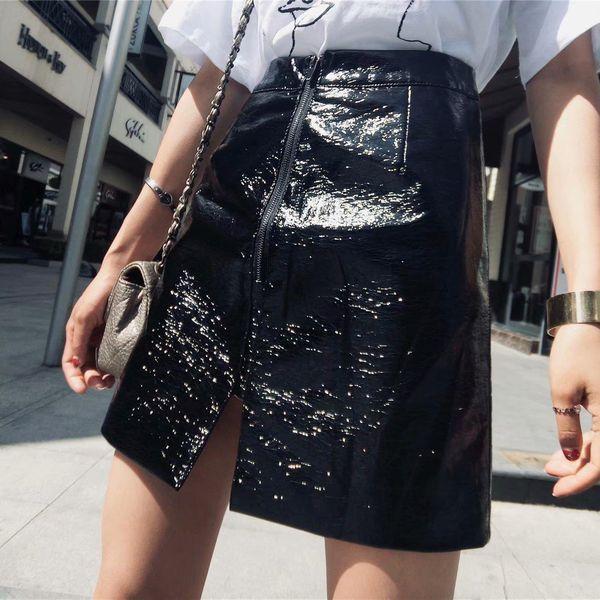 Winter sequined leather skirt NHAM140347
