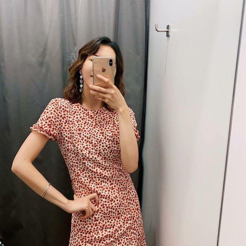 Maple Leaf Print Neck Dress NHAM140403