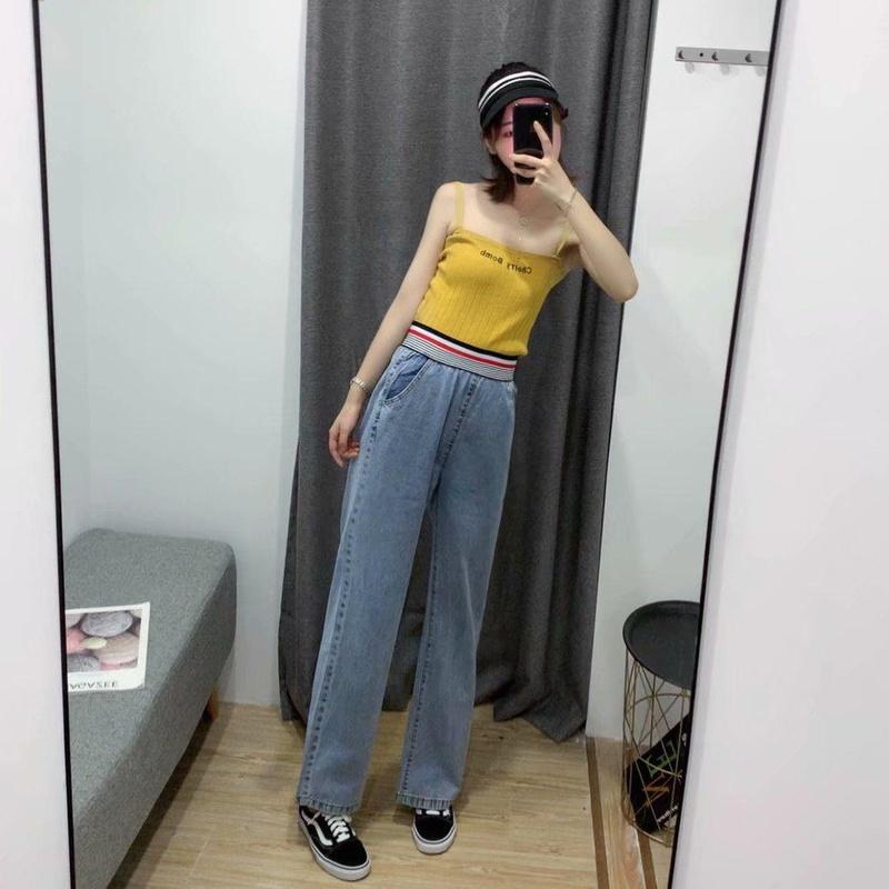 Color strip elastic tow wide leg pants NHAM140459