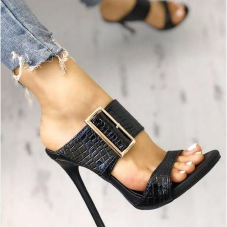 Simple snake-shaped square buckle high heel sandals NHSO140483's discount tags