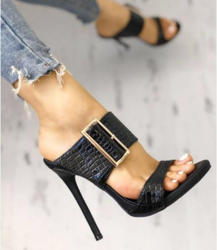 Simple snake-shaped square buckle high heel sandals NHSO140483