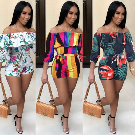 Fashion printed belt jumpsuit clothing NHRF140519's discount tags