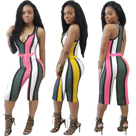 Deep V lace-up color striped jumpsuit NHRF140522's discount tags