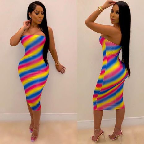 Colorful striped wrap chest slim dress NHRF140535's discount tags