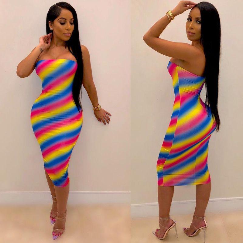 Colorful striped wrap chest slim dress NHRF140535