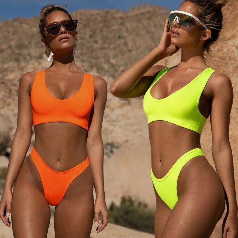 Women Split Solid Color Swimsuit Orange Yellow NHNM140637