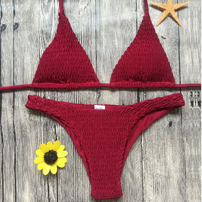 Fashion split solid color pleated triangle bikinis multicolor NHNM140652