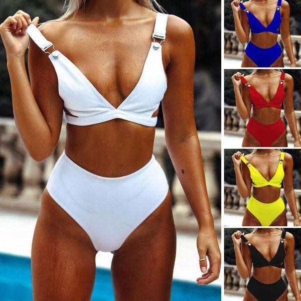 Fashion split solid color triangle bikini NHNM140653
