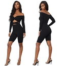 Sexy strapless cross umbilical slimming clothing set black NHRF140539