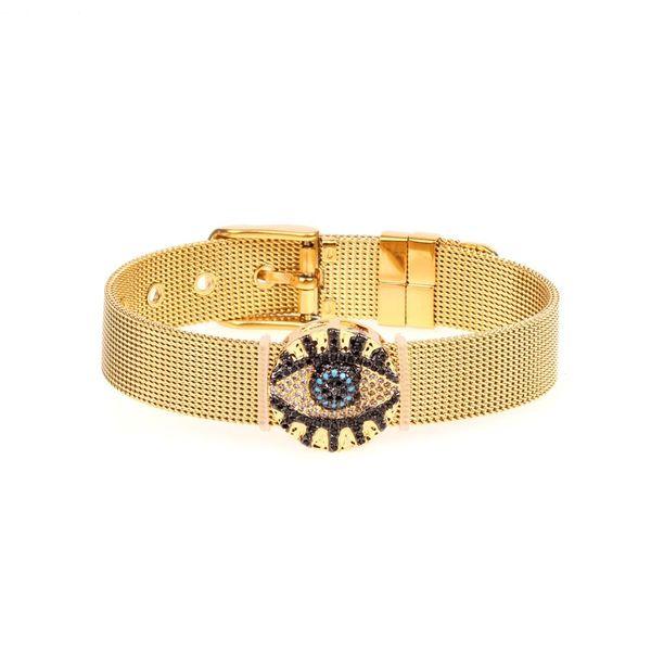 Micro-inlaid colored copper zircon evil eyes strap bracelet NHPY140961