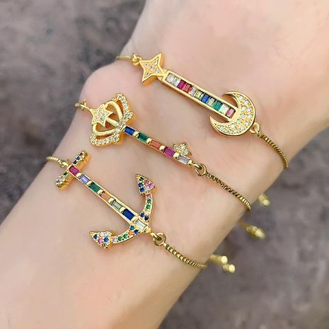 Micro-inlaid colored zircon crown star moon bracelet NHAS140975's discount tags