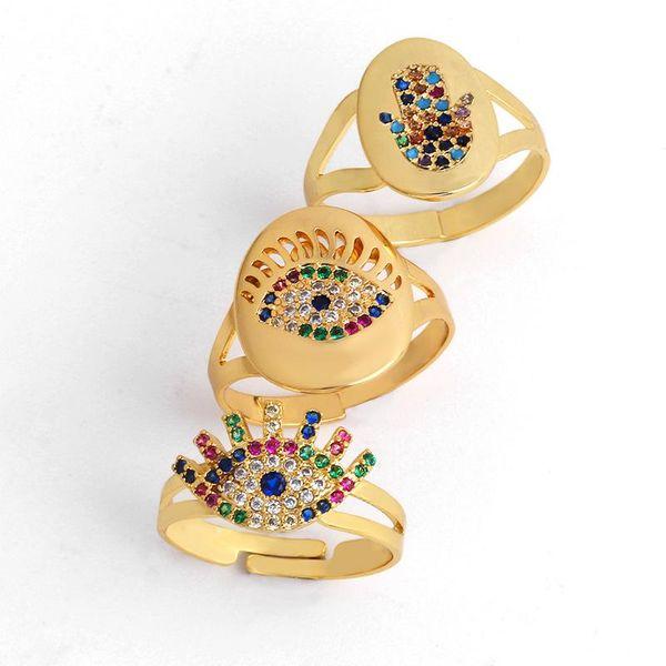 Fashion color zircon palm eye ring alloy NHAS140980