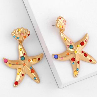 New colored five-pointed star earrings NHAS140981's discount tags