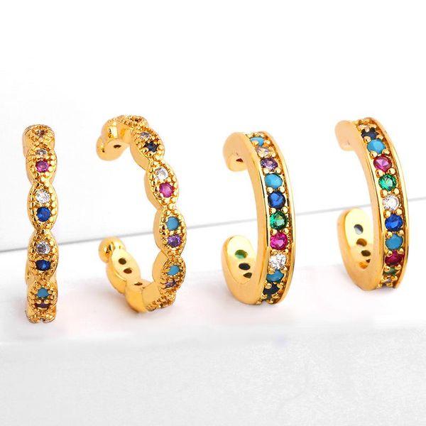 Fashion C-shaped colored zircon clip cuff earrings NHAS140988