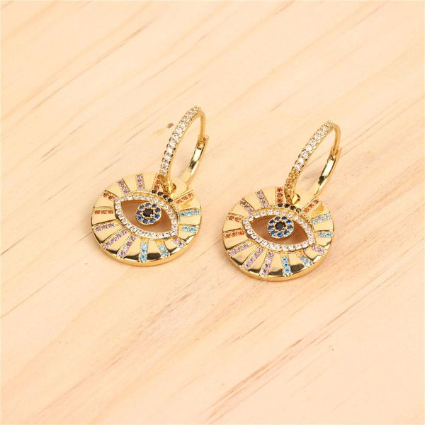 Micro-inlaid colored copper zircon evil eyes earrings NHPY140989