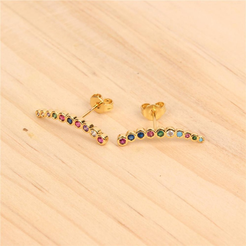 New Micro-inlaid colored copper zircon branches earrings NHPY140992