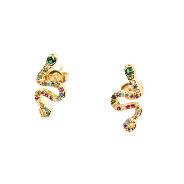 New Micro-inlaid colored copper zircon snake earrings NHPY141003