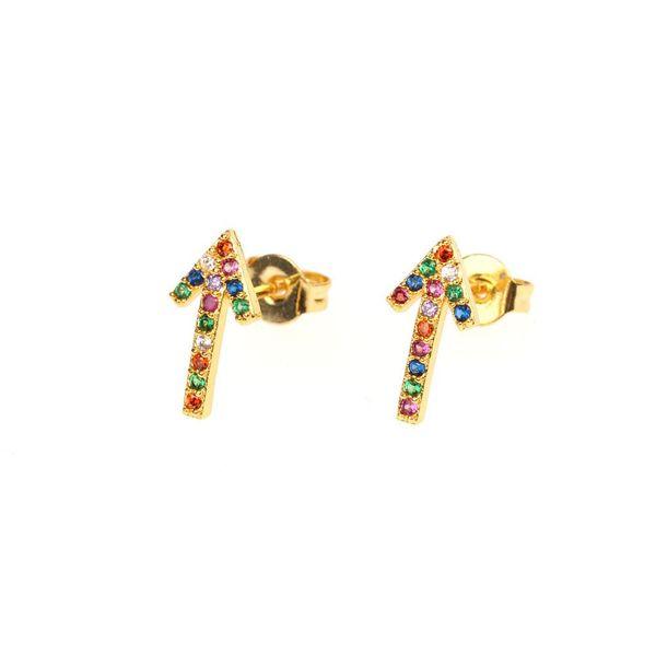 Micro-inlaid colored copper zircon arrow earrings NHPY141005