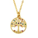 Microinlaid colored zircon life tree palm necklace NHAS140967
