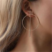 Simple circle hollow long earrings NHPF141071