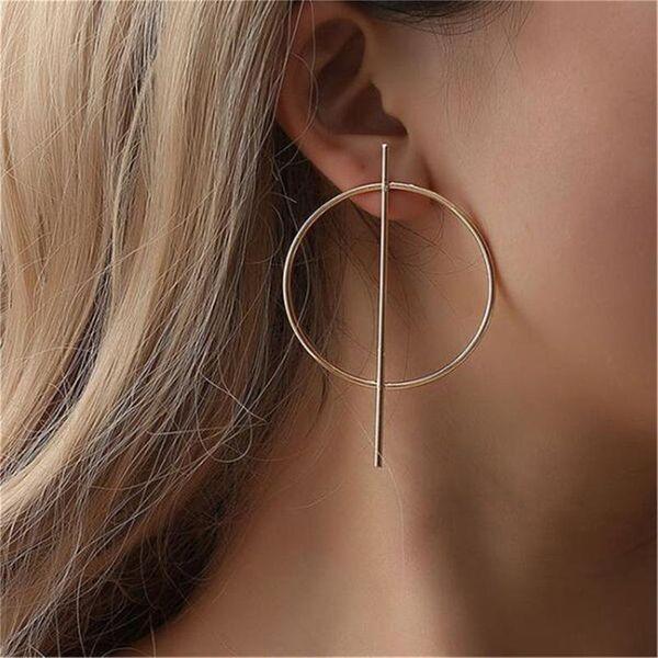 Simple circle hollow long earrings NHPF141071