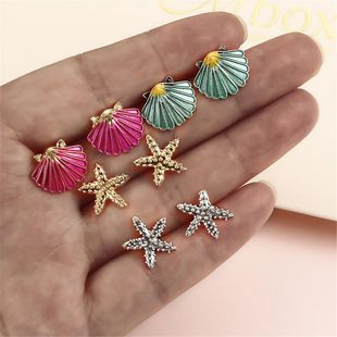 Colorful starfish shell earrings 4 pairs NHPF141072's discount tags