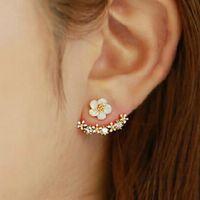 Margarita flor perla hoja copo de nieve pendientes NHPF141080