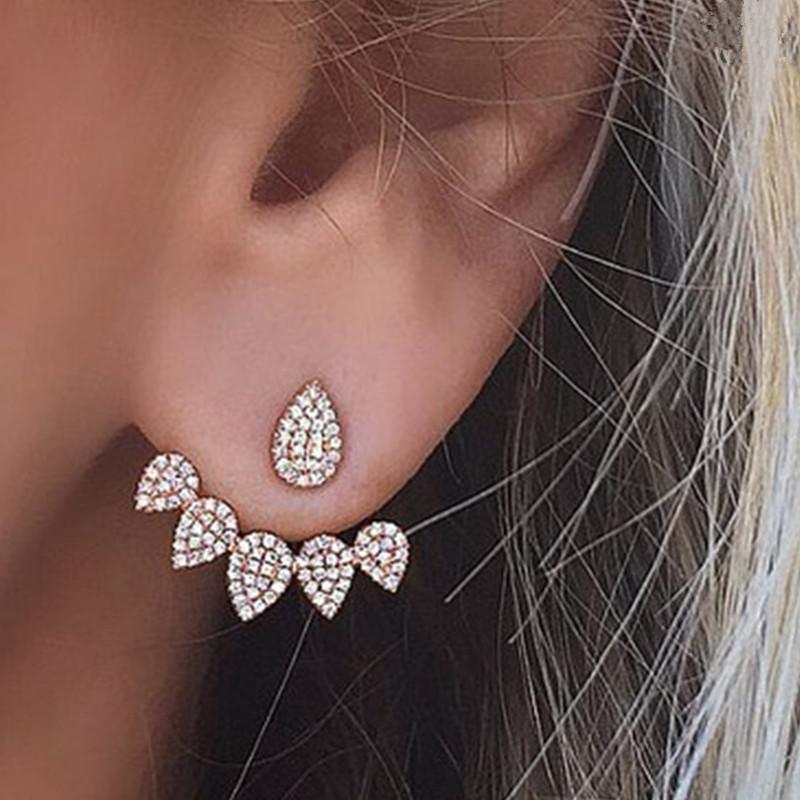 Fashion multi-drop macro-inlaid zircon stud earrings NHPF141081