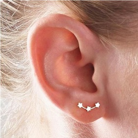 Fashion three little stars constellation stud earrings NHPF141082