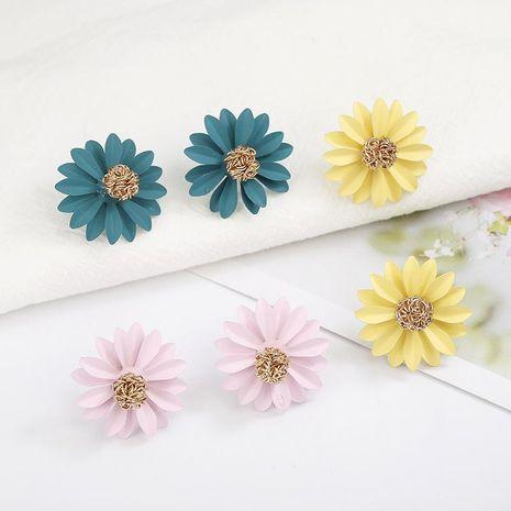 Boucles d'oreilles fleur de chrysanthème colorées jaune vert rose NHPF141083's discount tags