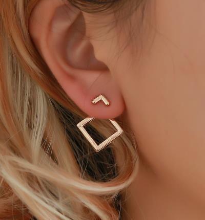 Simple metal cutout rhinestone cuff clip earrings alloy alloy NHPF141090