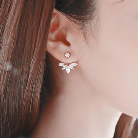 Fashion petal imitated crystal ear cuff stud earrings NHPF141099's discount tags