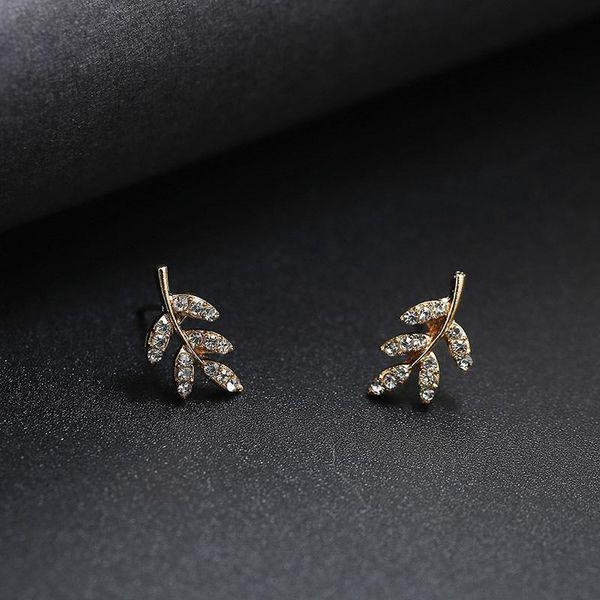 Simple metal macro-inlaid zircon leaf earrings ear cuff NHPF141112