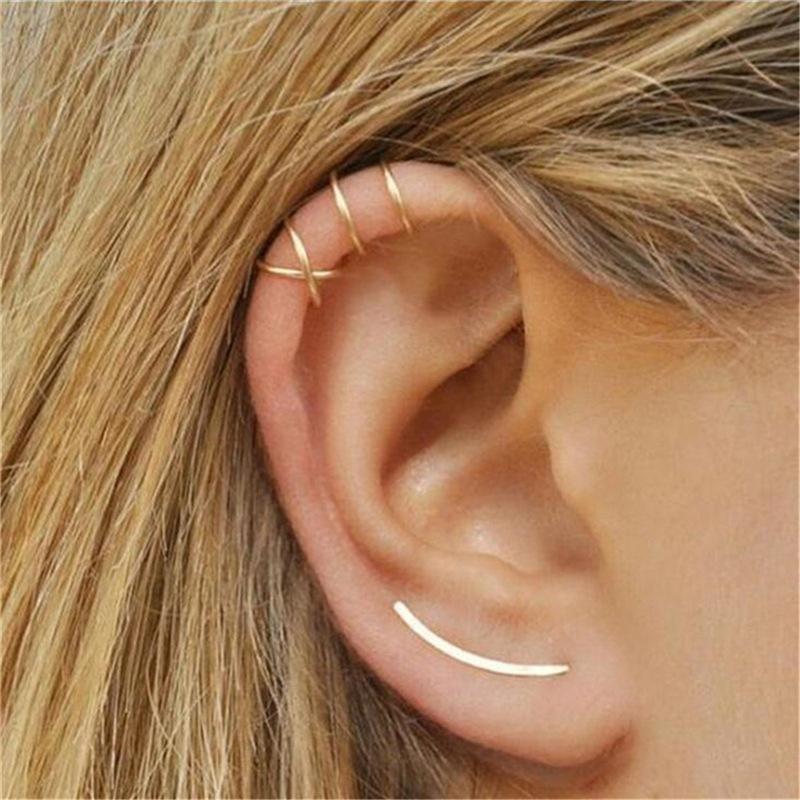 Simple C-shaped metal ear cuff clip earrings NHPF141113