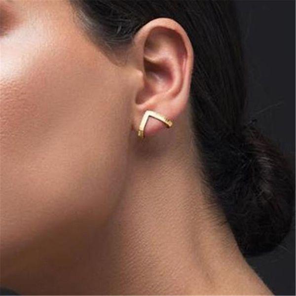 New V-shaped metal ear cuff clip earrings NHPF141114