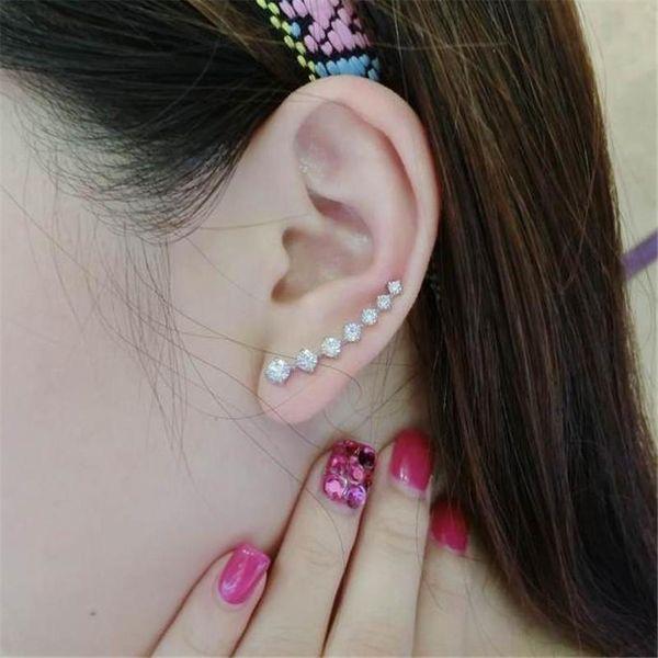 Fashion 7 rhinestone long ear cuff stud earrings NHPF141118