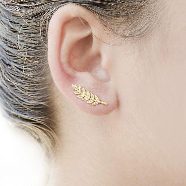 Pendientes de clip de oreja en forma de U de aleación de hoja simple oro NHPV141120