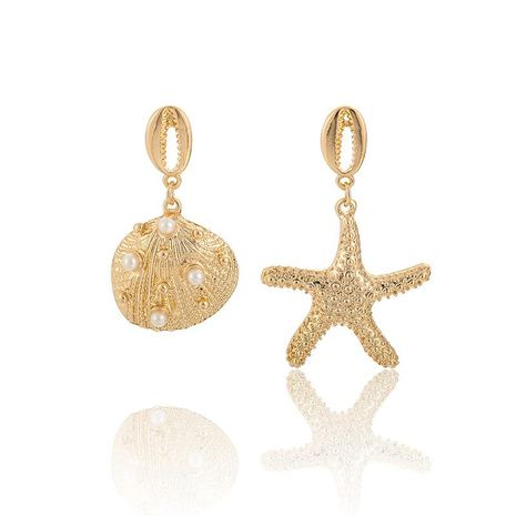 Vintage Asymmetric Beads Alloy Shell Starfish Earrings NHGY141184's discount tags