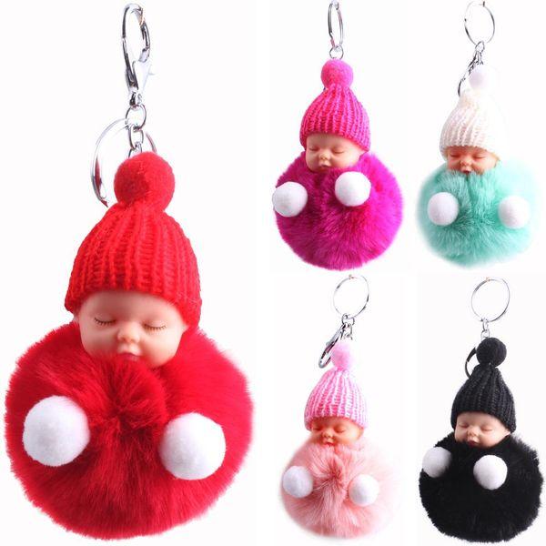 Imitation 獭 rabbit fur ball knit hat sleep doll keychain NHMM141352