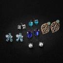 Trendy minimalist rhinestone drop flower beads leaf geometry 6 pairs set earrings NHGY141126