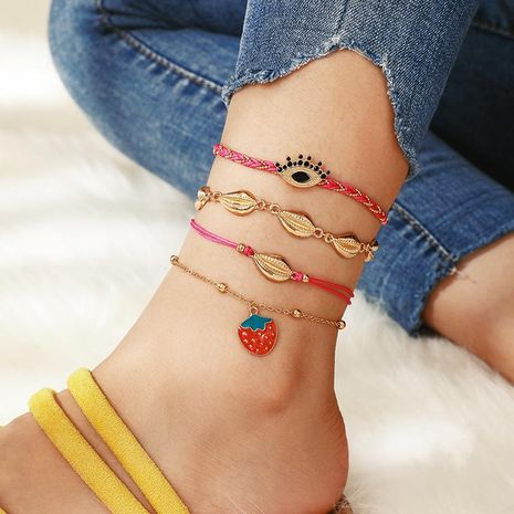 Fashion color braided rope fruit strawberry alloy shell multilayer anklet bracelet NHGY151196's discount tags