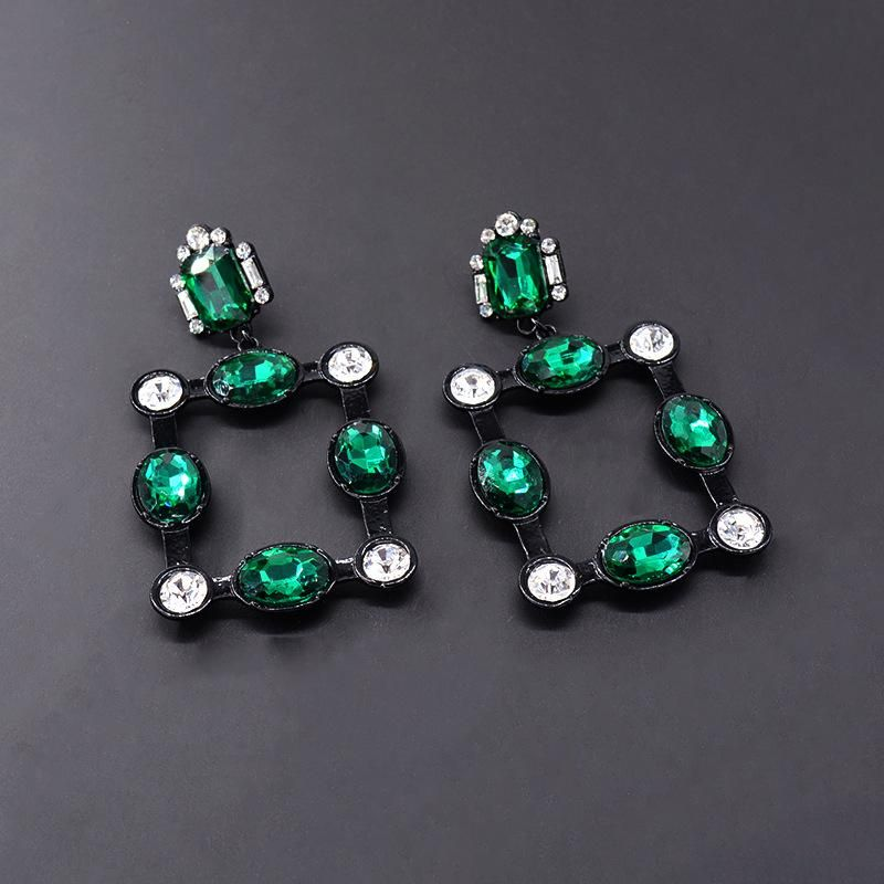 Fashion Baroque Rhinestone Exaggerated Square Earrings NHNT151226