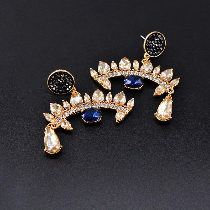 Fashion wild crystal rhinestone eye earrings NHNT151265