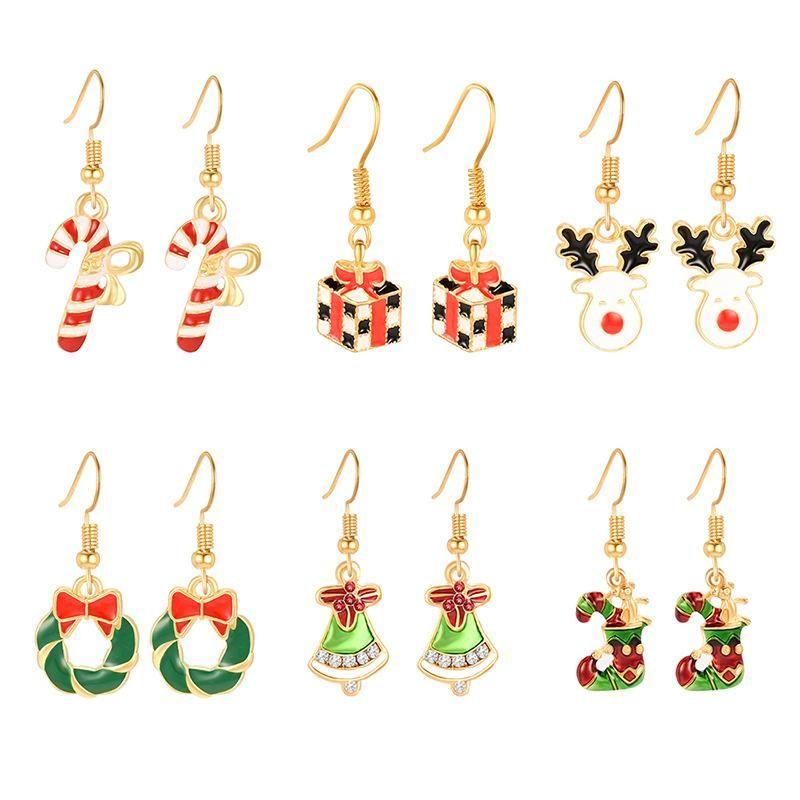Christmas gift Christmas stocking Christmas deer six-piece earrings NHXS151273
