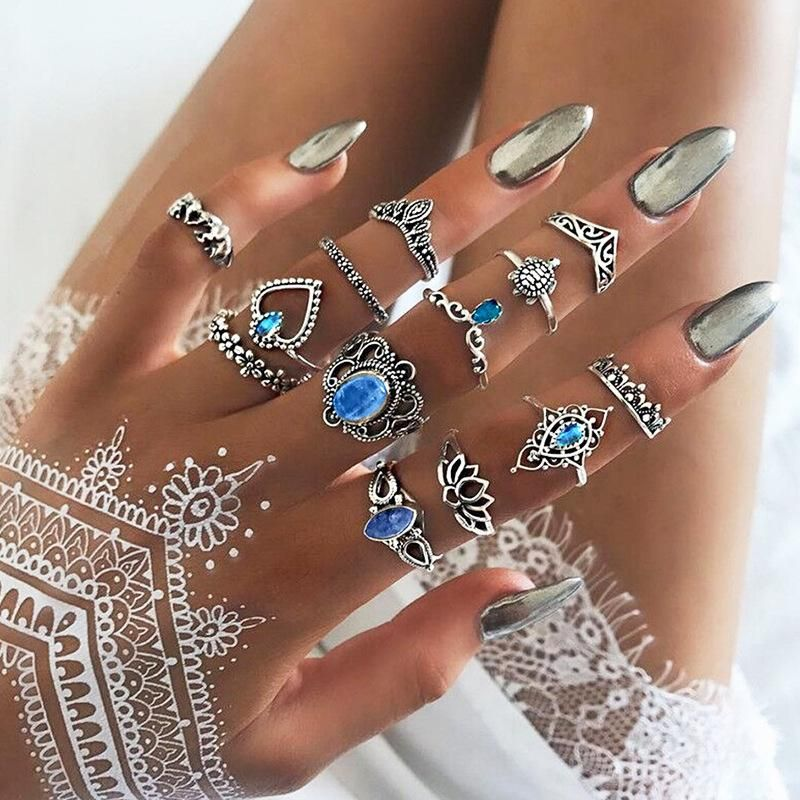 Fashion simple love flower ring set of 13 NHNZ151301