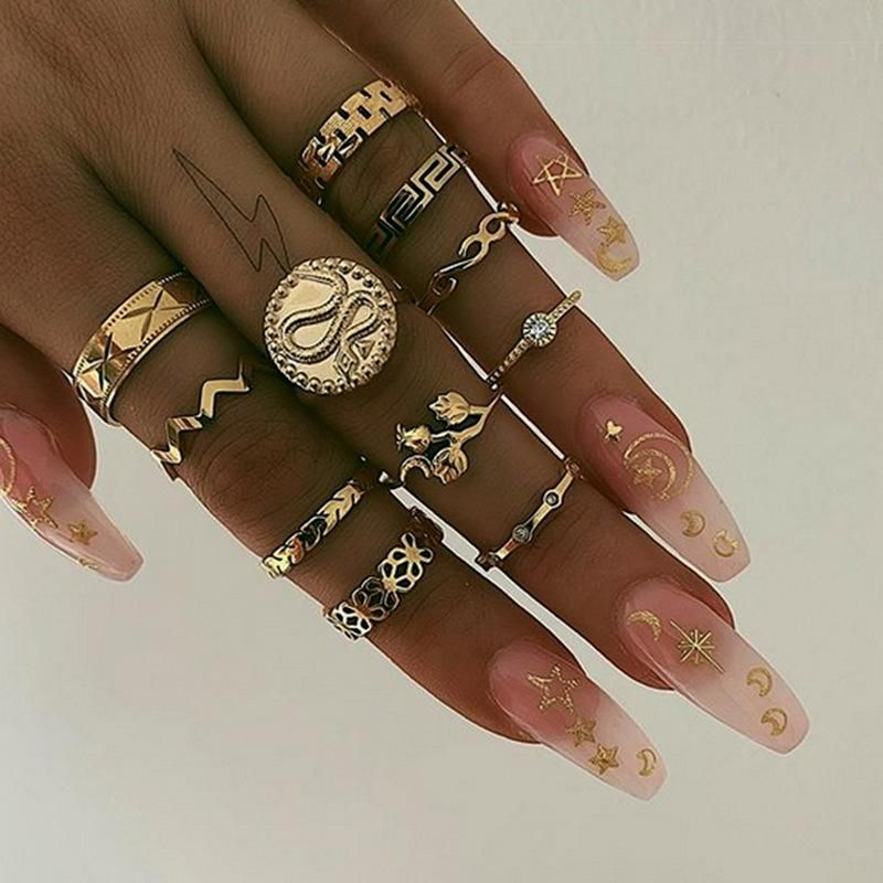 Explosive snake-shaped resin geometry 11-piece ring NHNZ151319