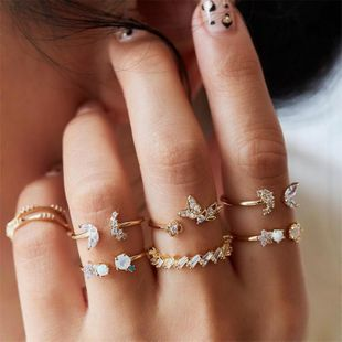 Womens Butterfly Flower Plating Alloy Rings NHNZ151323's discount tags