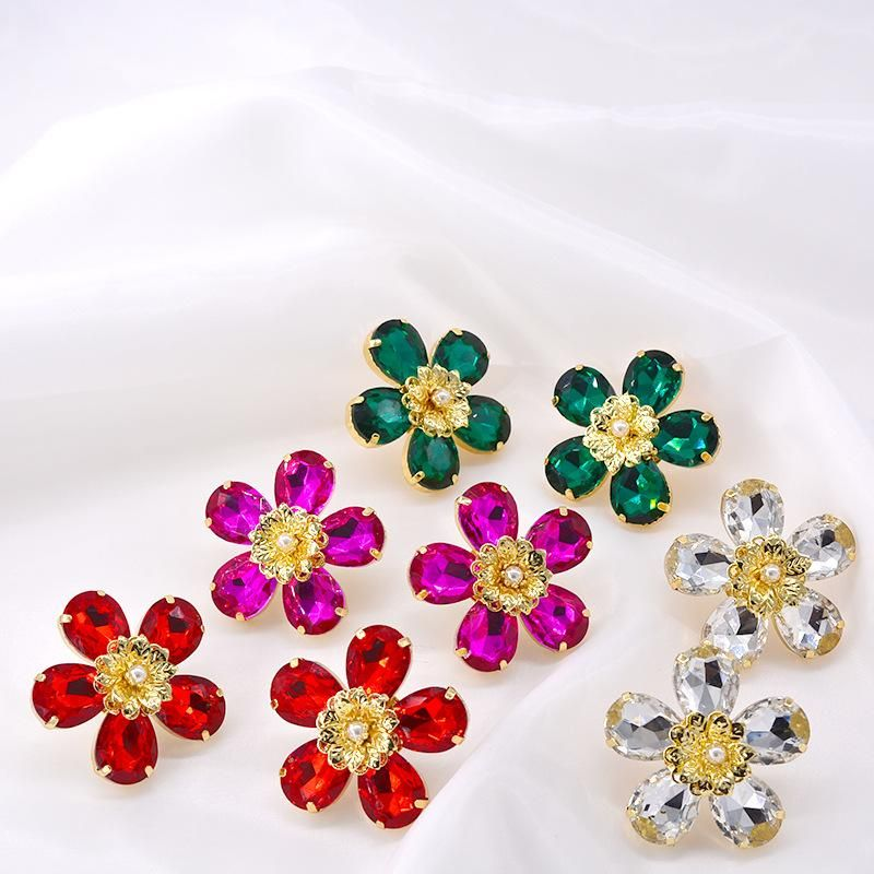 Fashion crystal glass with diamond stud earrings NHNT151332