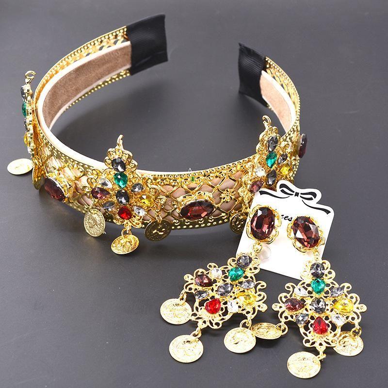 Vintage openwork metal crown bride color diamond headband NHNT151358