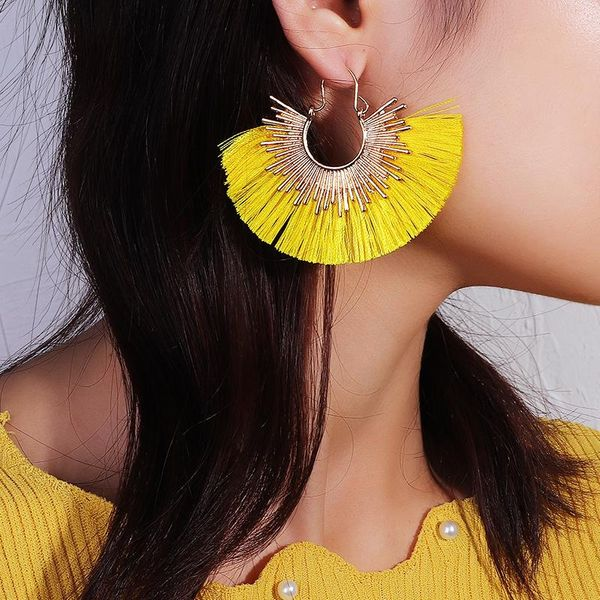 Fashion alloy fan-shaped tassel earrings NHNZ151387